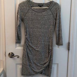 Express Long Sleeve Stretchy Gray Dress XS